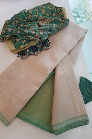 off white kanchipuram silk saree with veldhari