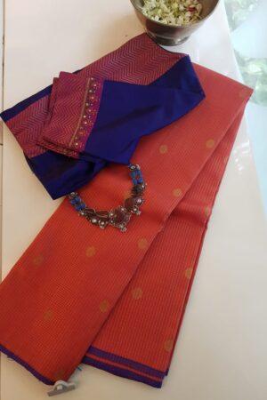 orange silk saree with zari checks