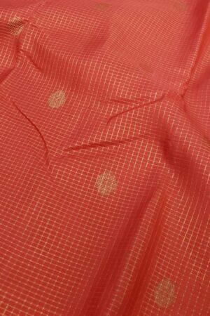 orange silk saree with zari checks1
