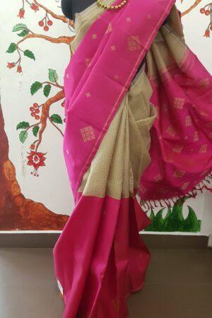 pink and beige checks kora and silk half and half4