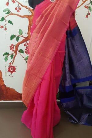 pink and blue rising half rising border saree