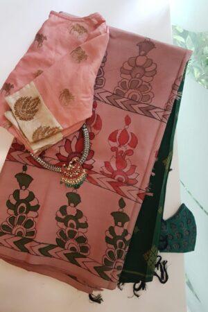 pink and bottle green with kalamkari