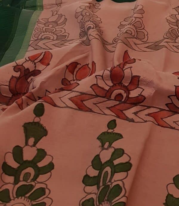 pink and bottle green with kalamkari3