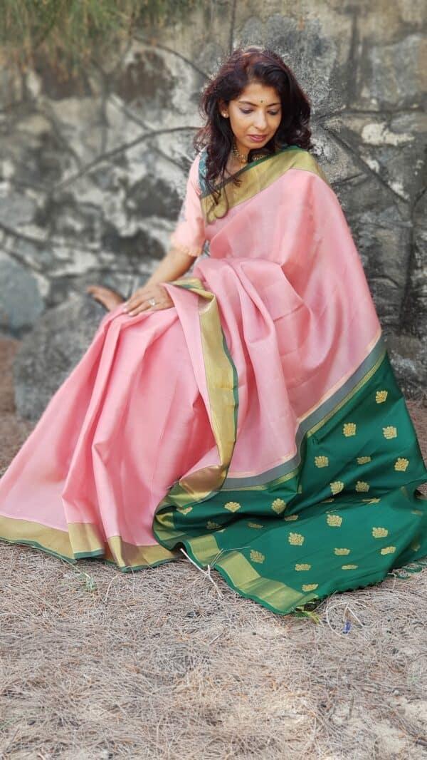 pink and green silk saree