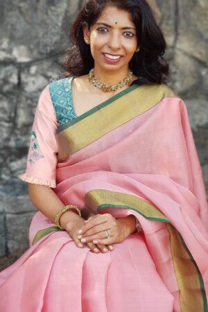 pink and green silk saree1