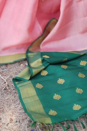 pink and green silk saree2