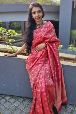 pink brocade saree with silver zari5