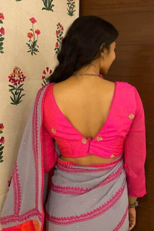 pink raw silk with chiffon sleeves1