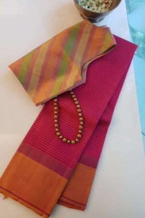 pink with mustard zero zari saree