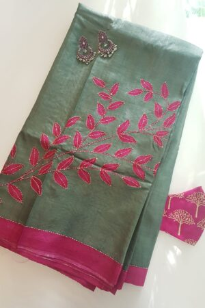 russian green with pink leaf print