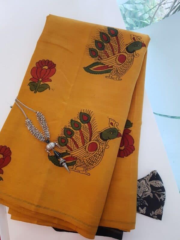 yellow kalamkari ssaree with black
