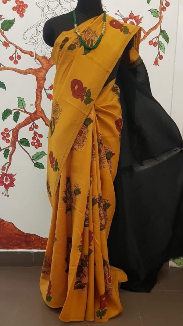 yellow kalamkari ssaree with black1