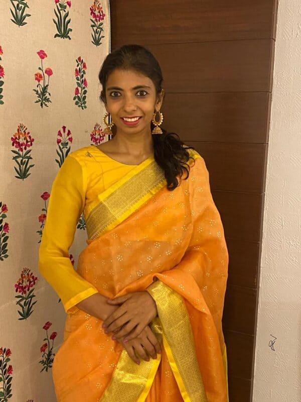 yellow raw silk and chiffon blouse