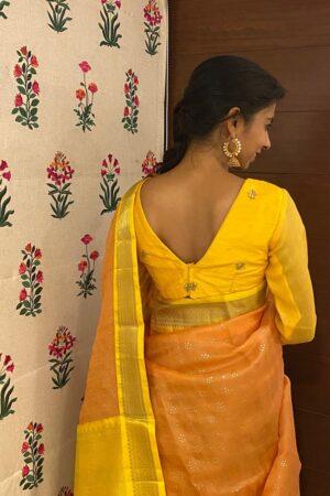 yellow raw silk and chiffon blouse1