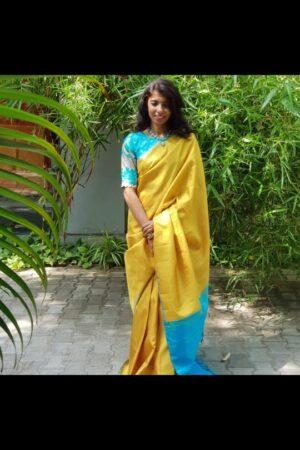 yellow with blue checks kanchi silk saree