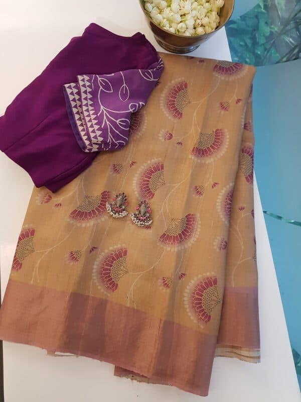 Golden beige with umbrella print tussar saree