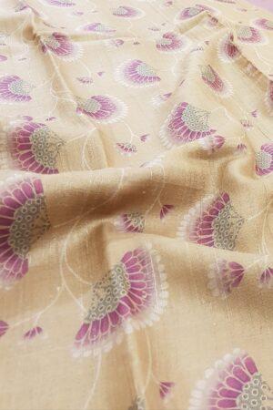 Golden beige with umbrella print tussar saree1
