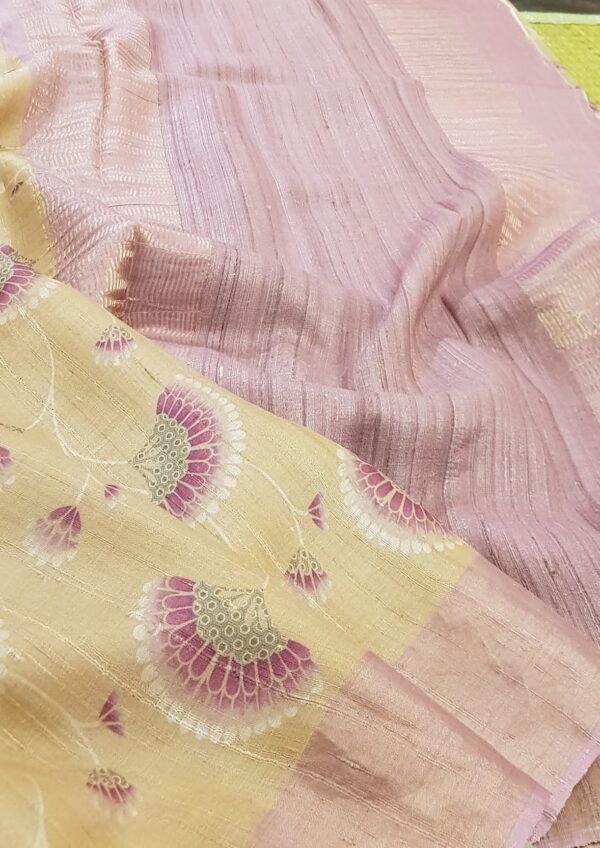 Golden beige with umbrella print tussar saree2