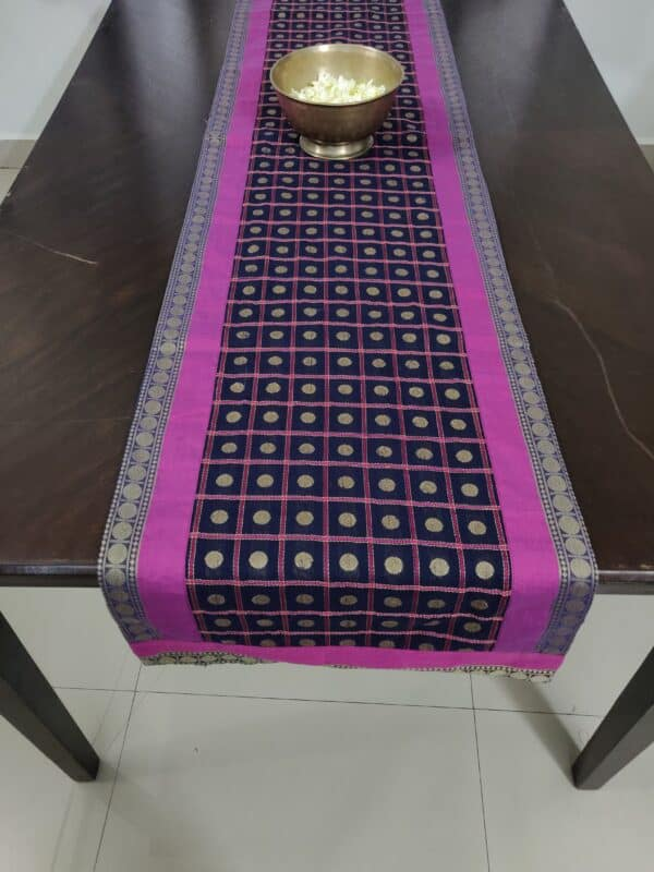 Black cotton table runner with rudraksh2