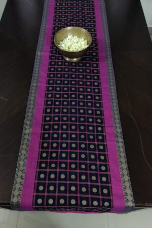 Black cotton table runner with rudraksh3