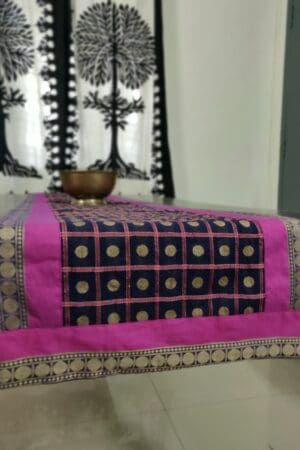 Black cotton table runner with rudraksh