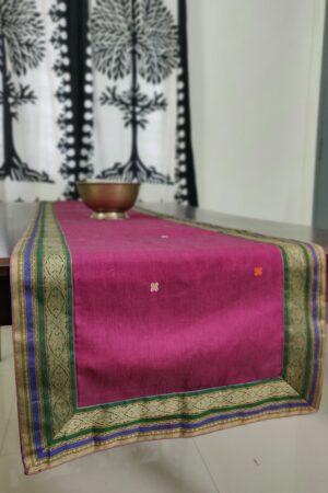 Dark pink kanchi cotton table runner