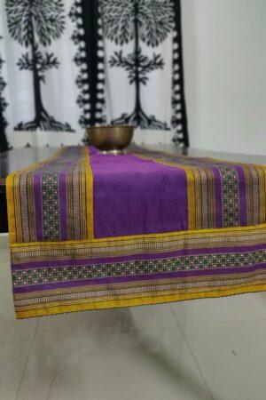 violet kanchi cotton runner