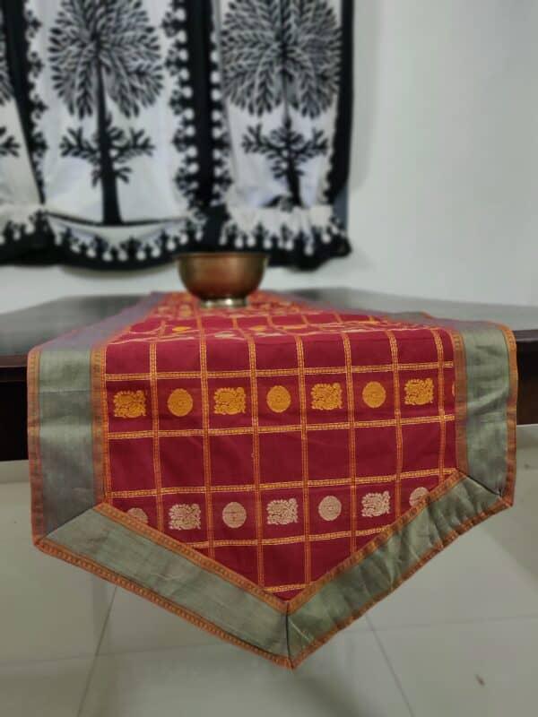 arakku table runner with mayil chakram motifs