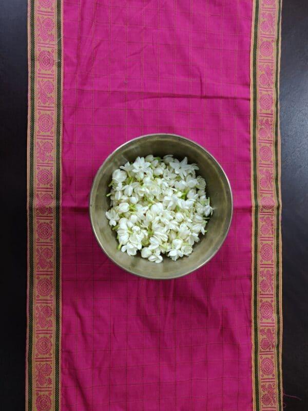 pink handloom cotton table runner 1