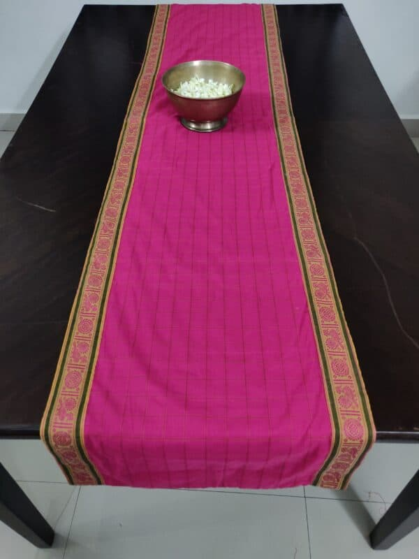 pink handloom cotton table runner 3
