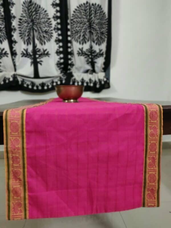 pink handloom cotton table runner