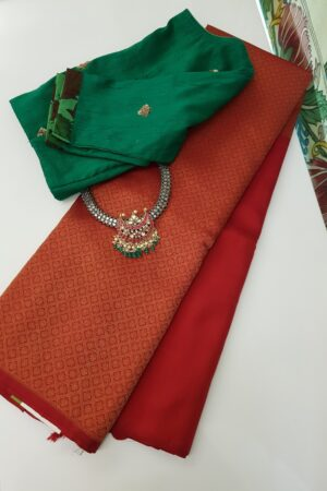 Red rising border kanchi silk saree