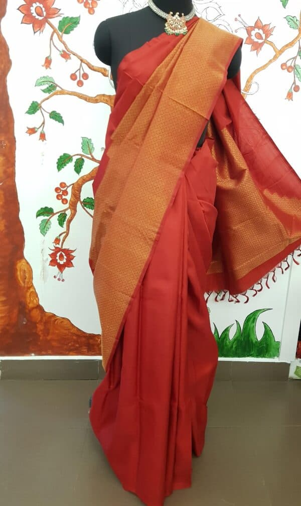 Red rising border kanchi silk saree2