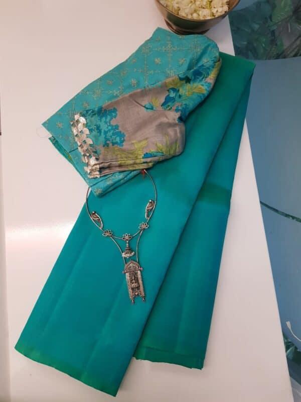 Teal green lavanyam kanchi silk saree