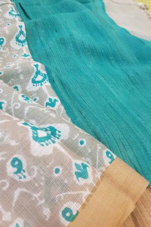 beige off white and blue kota saree1