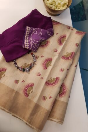 beige tussar sareee with umbrella print