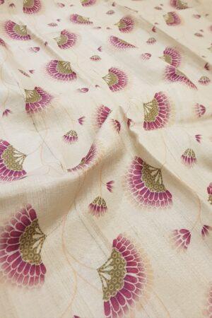 beige tussar sareee with umbrella print1