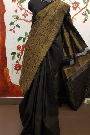 black half risng kanchi silk saree
