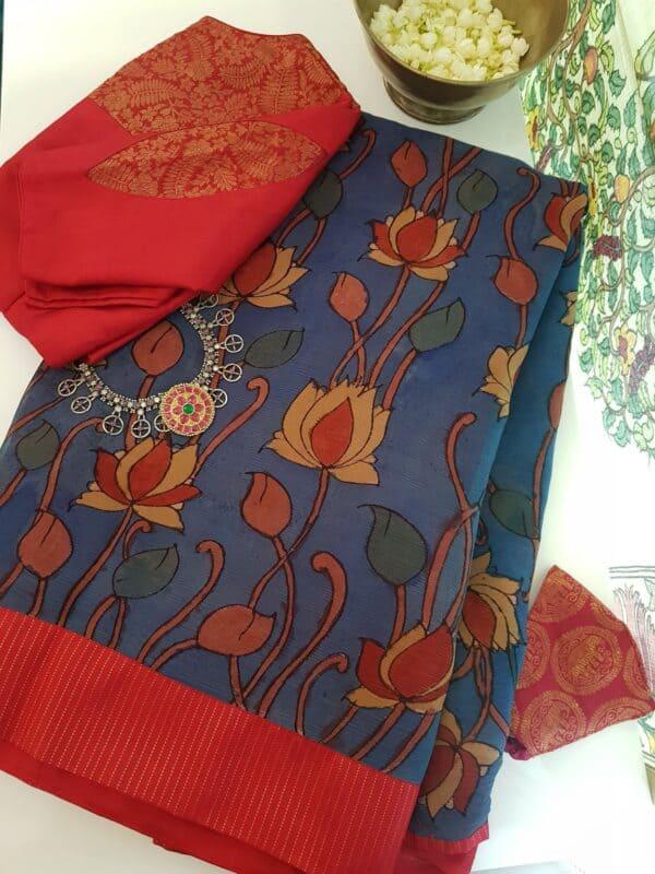 blue half and half chiffon saree with red kanchi silk border
