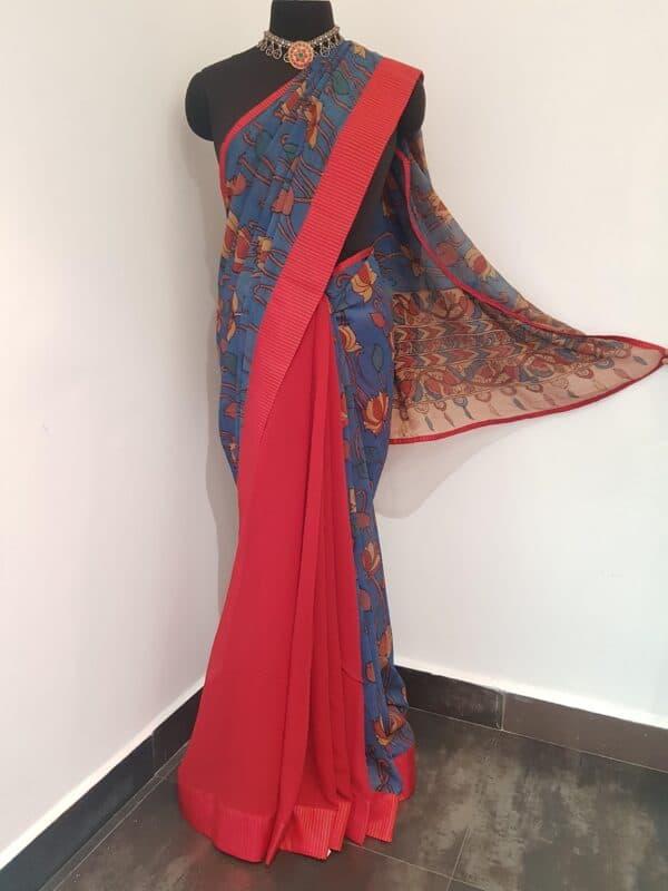 blue half and half chiffon saree with red kanchi silk border1