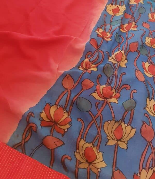 blue half and half chiffon saree with red kanchi silk border2