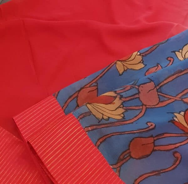blue half and half chiffon saree with red kanchi silk border3
