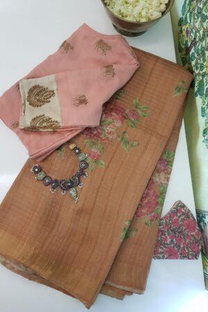 brown tussar saree with zari checks