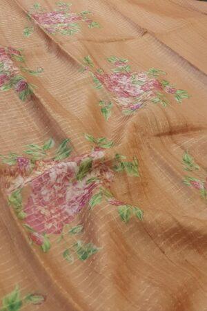 brown tussar saree with zari checks3