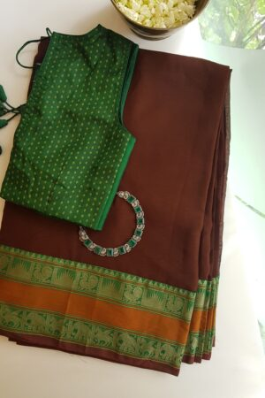 brown with green and rust kanchi cotton border on chiffon saree1