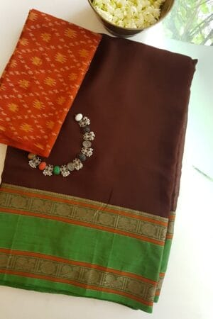 brown with green kanchi cotton border on chiffon sare1