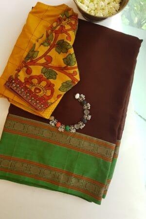 brown with green kanchi cotton border on chiffon sare2