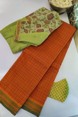 burnt orange kanchi cotton saree