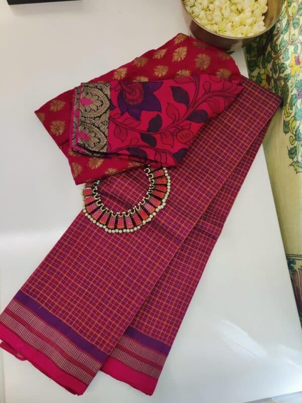 dark pink kanchi cotton saree