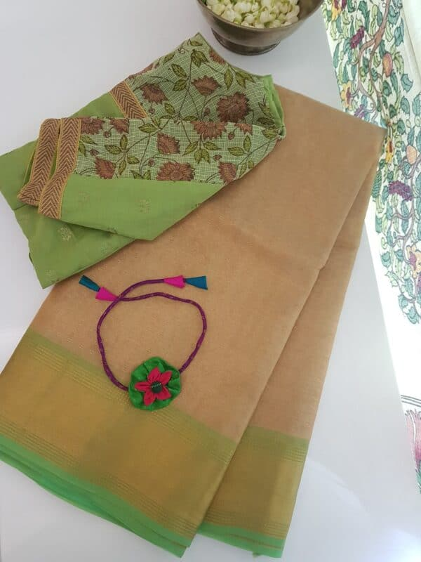 gold with green tissue tussar saree1